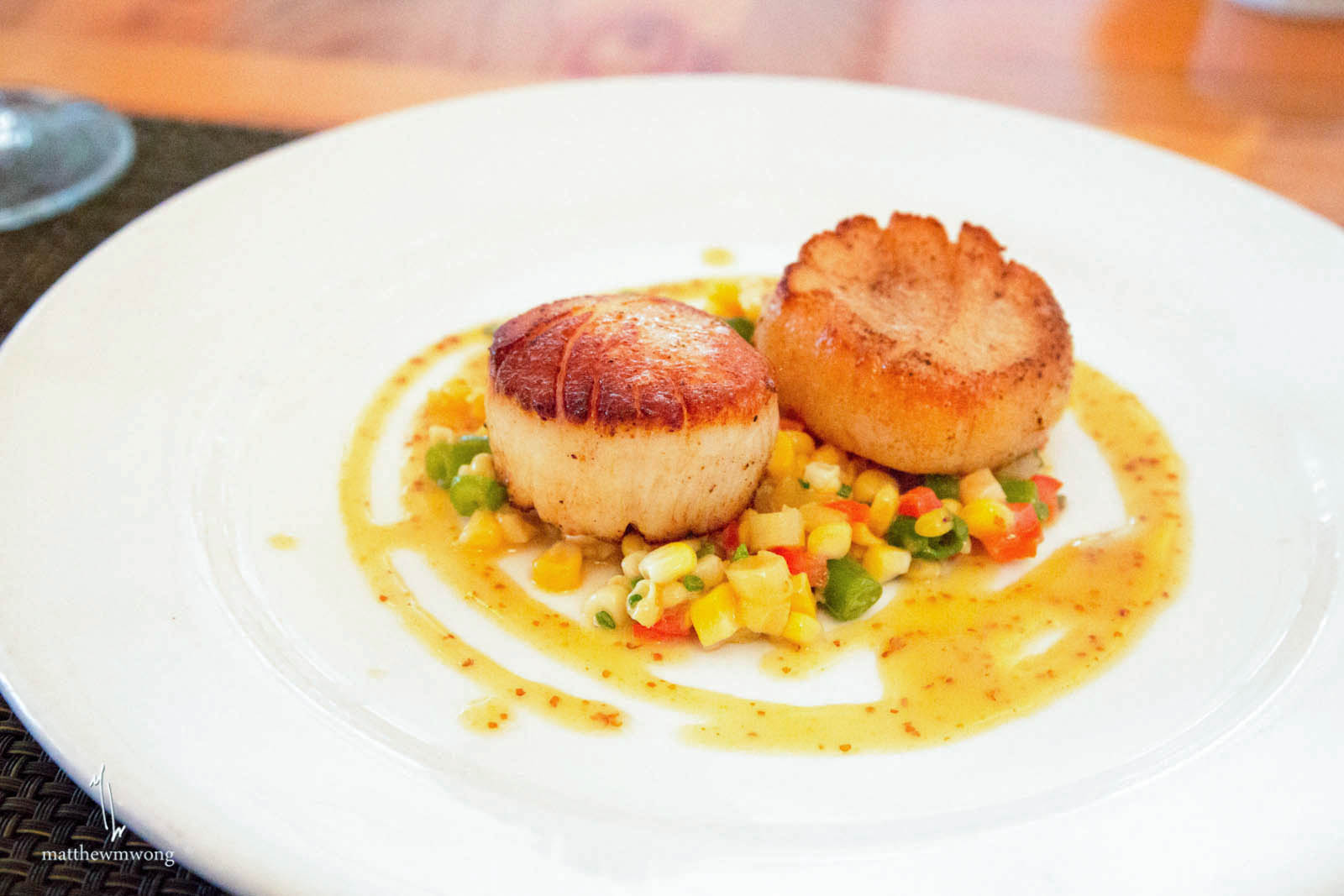 Seared Barnegat Light Sea Scallops; Succotash Salad & Maple-Mustard ...