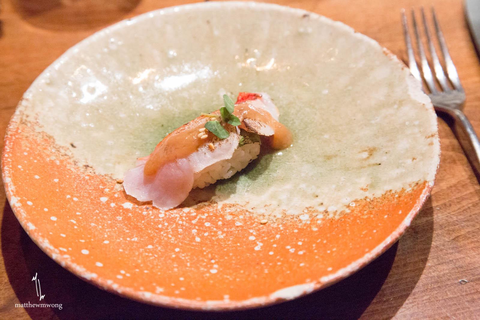 Kin Medai - ume, japanese plum vinaigrette, shiso