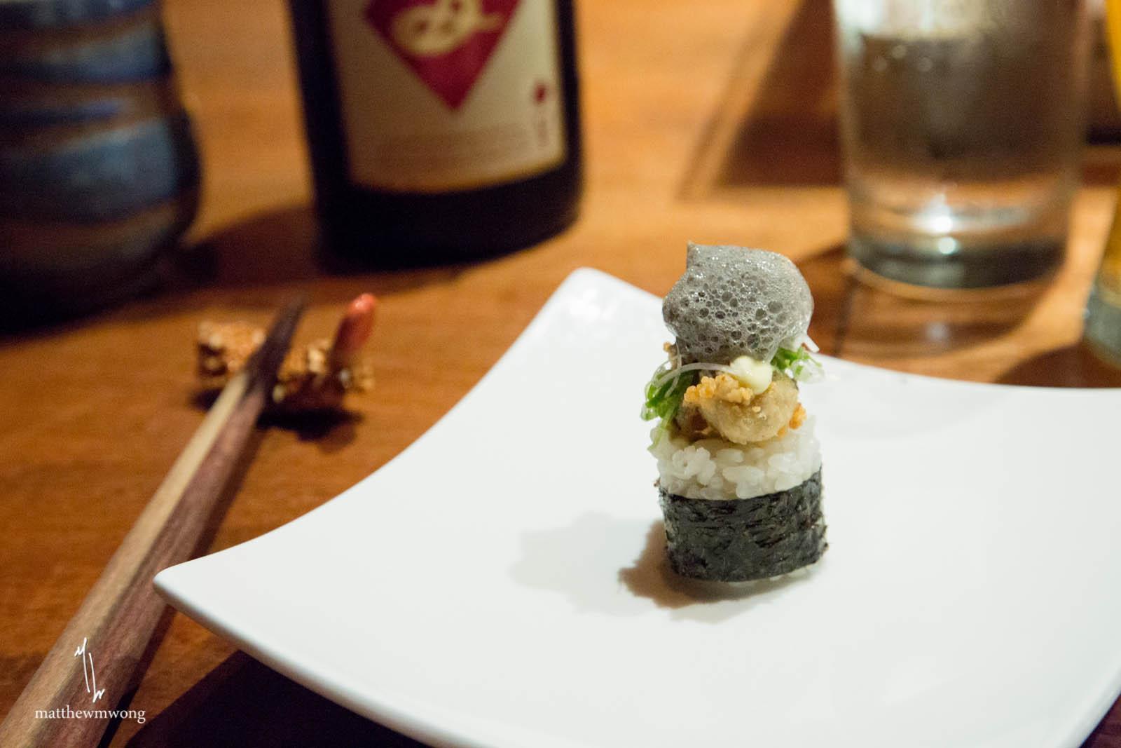 Fried Kumamoto Oyster - yuzu kosho aioli, squid ink bubbles