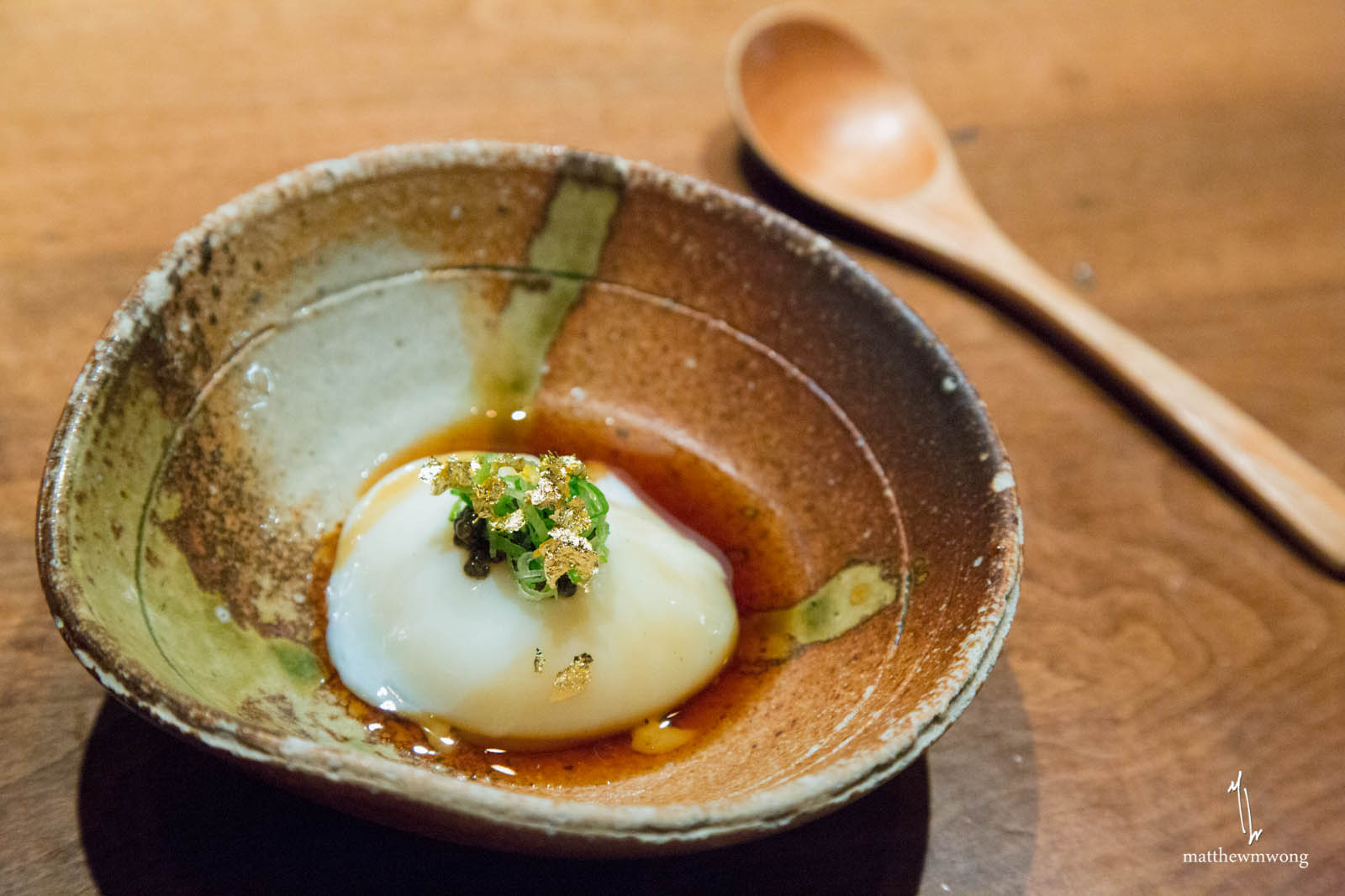 """Faberge"" Onsen Egg - white sturgeon caviar, gold leaf, dashi sauce, green onion"