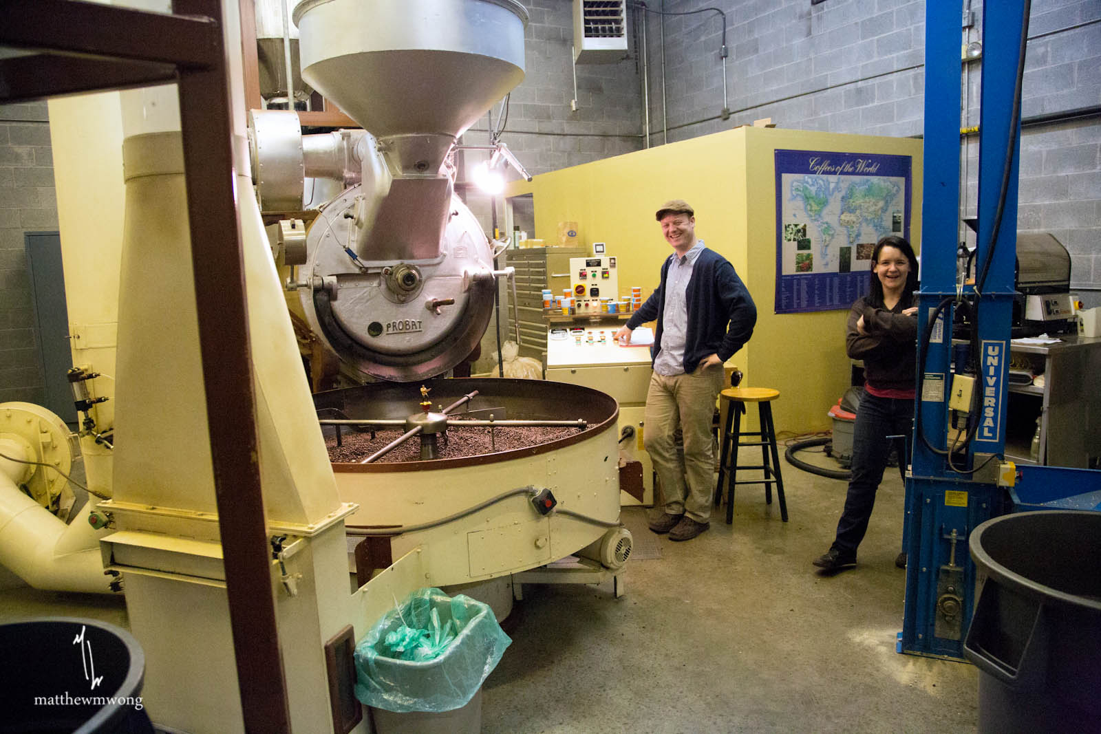 Roasting, having fun using the 90-kilo Probat roaster from the 1960s. What a beast!