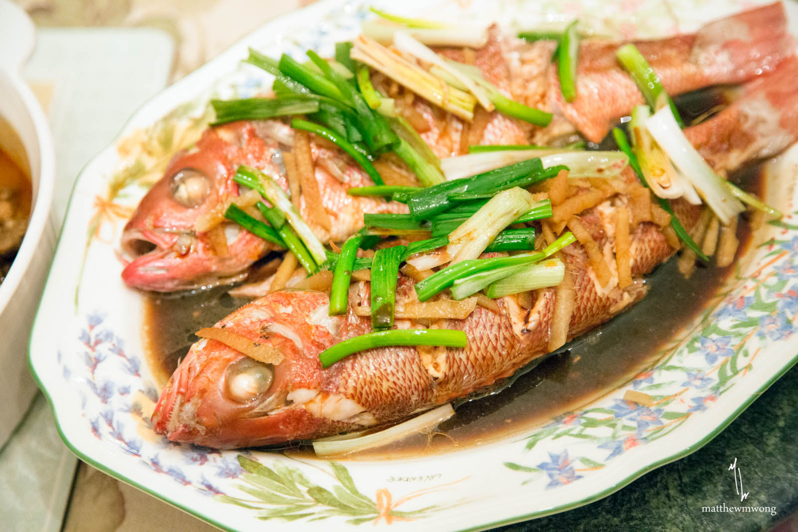 Steamed Red Snapper - soy sauce, green scallion, ginger, garlic