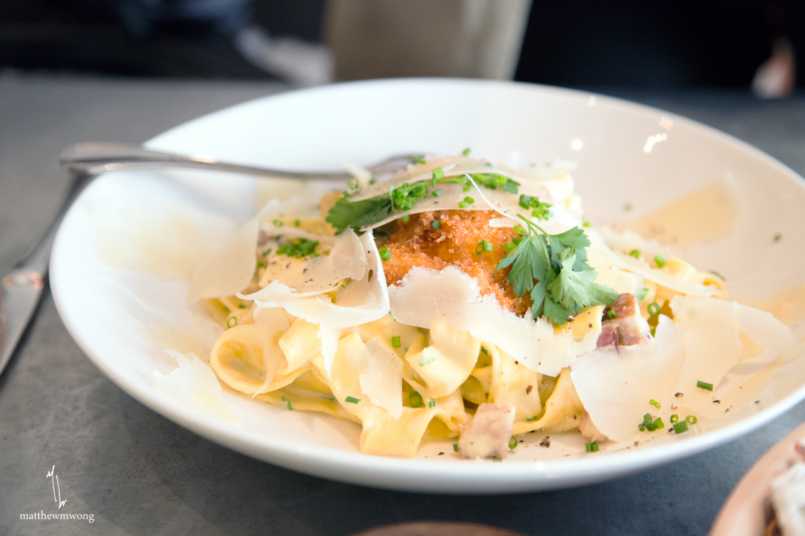 Tagliatelle - carbonara, bacon, crispy farm egg