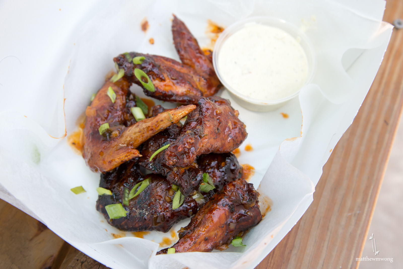 Smoke-Fried wings, mango thai chili glaze, avocado ranch