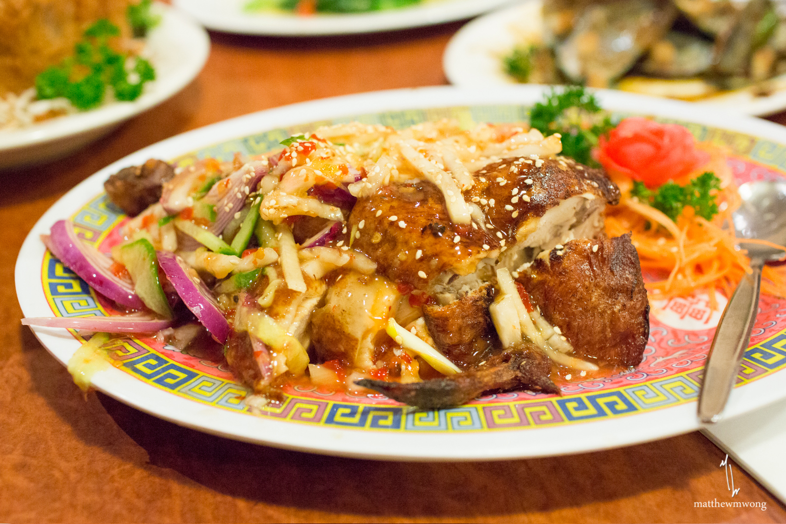 Thai Crispy Chicken, half serve of roast chicken topped with sweet chilli sauce