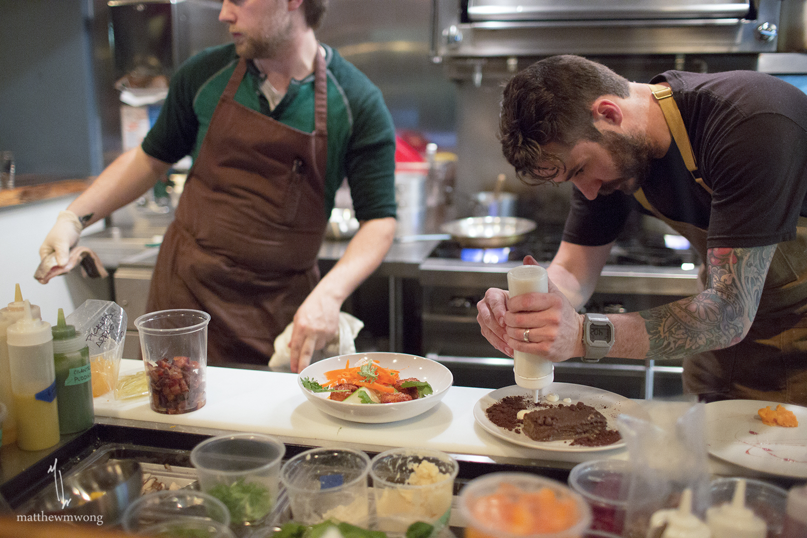 My observation of Chef Zach and Chef Jonathan... they were always intensely focused except at the end of service saying thanks for coming and sharing a beer by Sweetwater/Ryan Hidinger - Second Helping IPA.