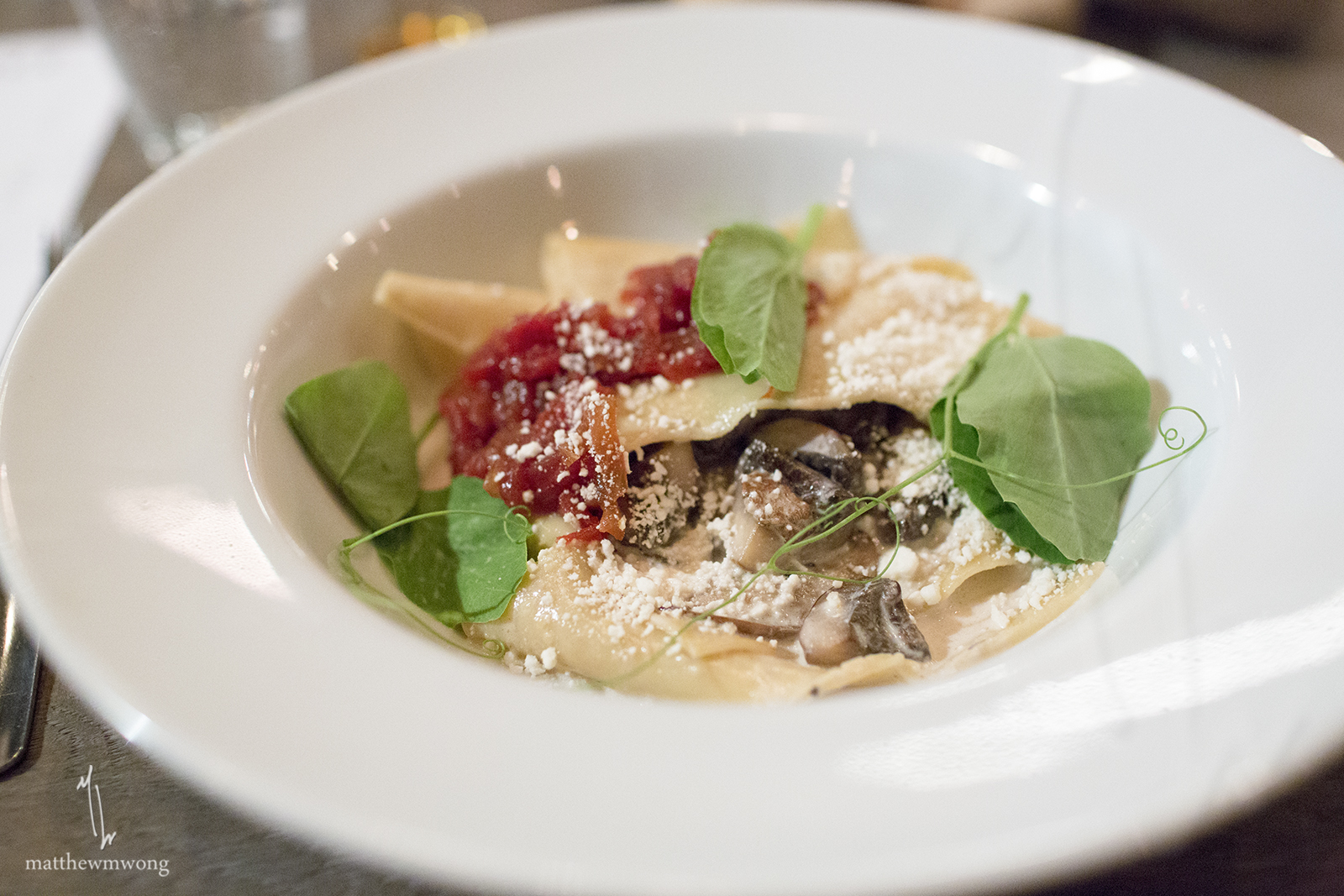 Silk Handkerchief pasta, wild mushroom confit, tomato marmalade, porcini cream