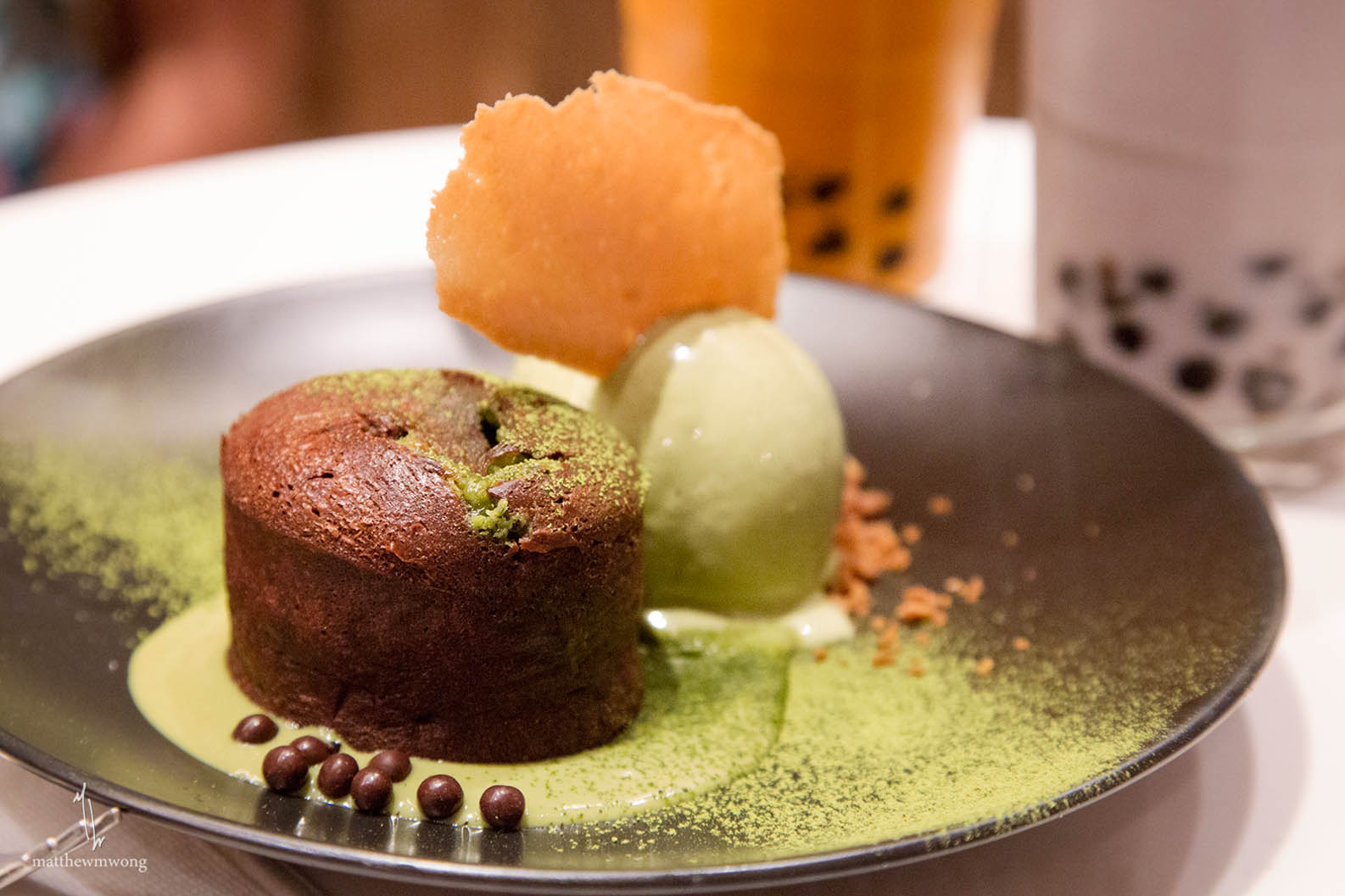 Chocolate Green Tea Lava Cake - chocolate cake, green tea ganache, green tea ice cream, walnut soil