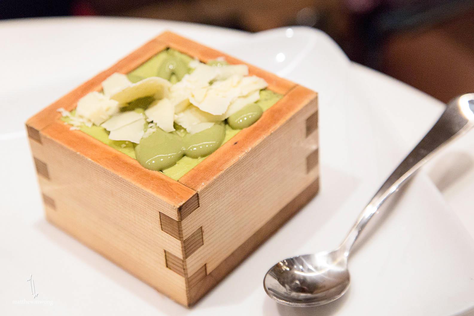 Green Tearamisu - Green tea mascarpone cream, green tea soaked ladyfingers, shaved white chocolate, matcha powder dust