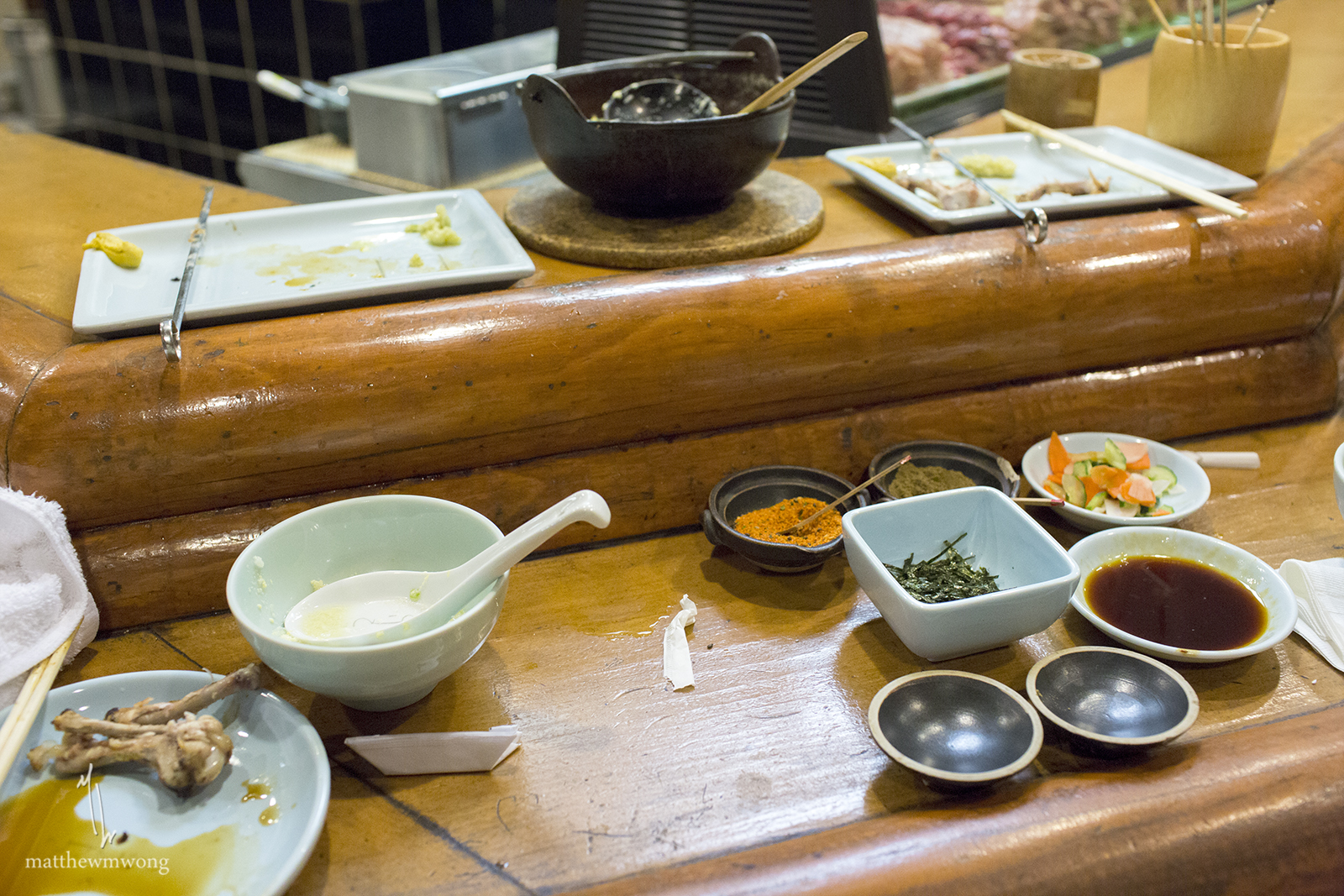 The aftermath of some tasty yakitori!