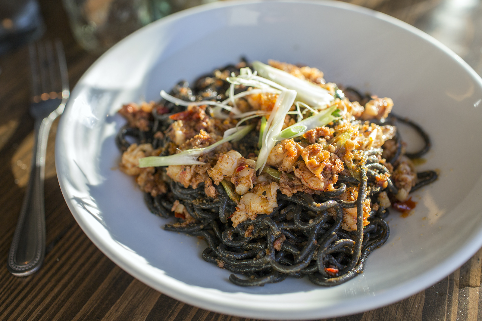 Black spaghetti, hot calabrese sausage, red shrimp, scallions