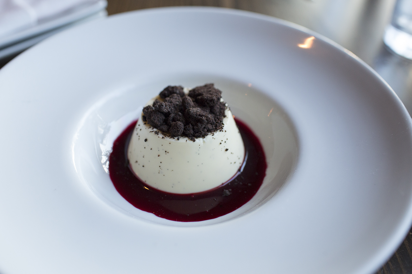 Huckleberry panna cotta, cookie crumbs