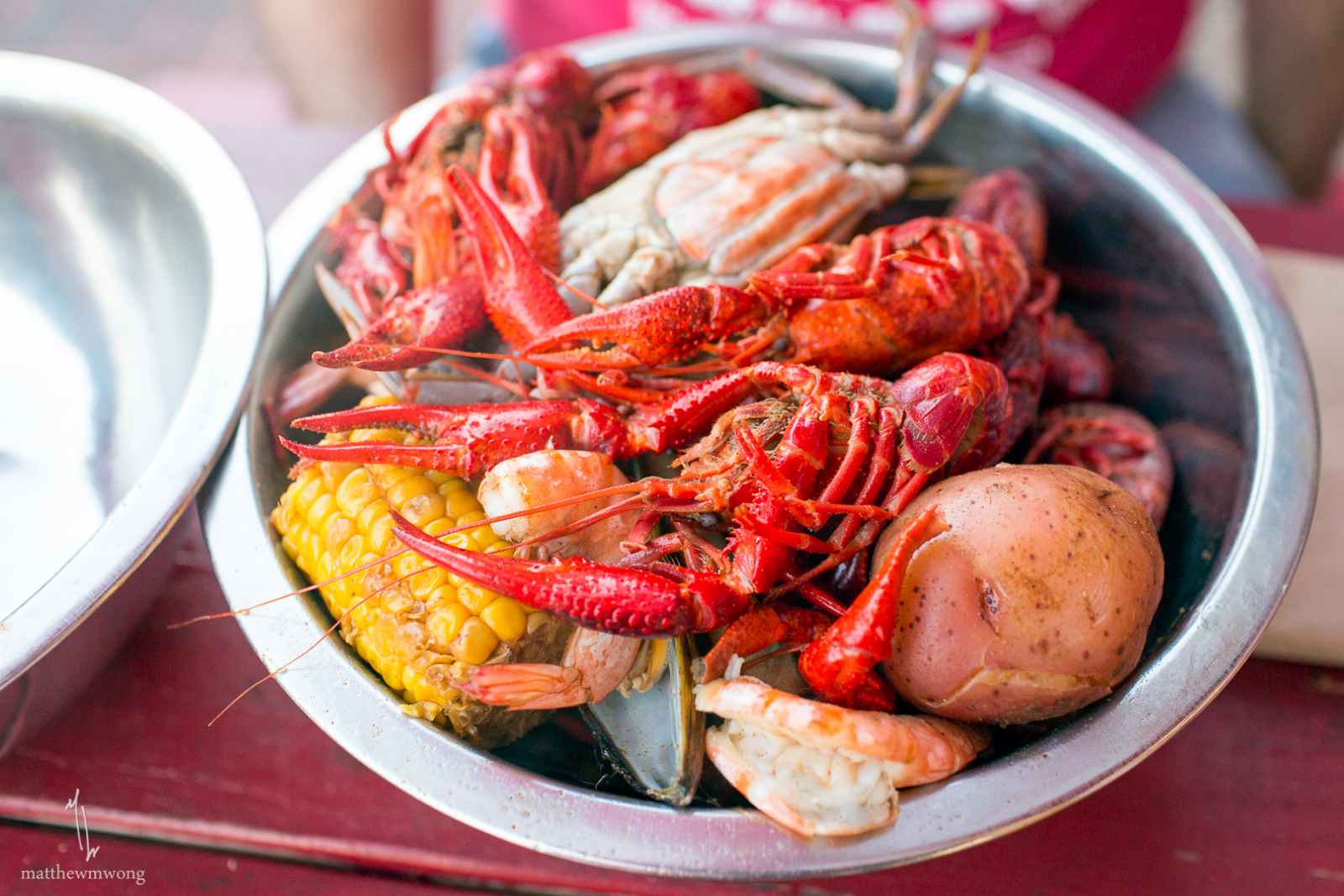 Shack-tastic Platter for one - boiled Snow Crab, Blue Crab, Mussel, Shrimp, Corn and Red Potatoes