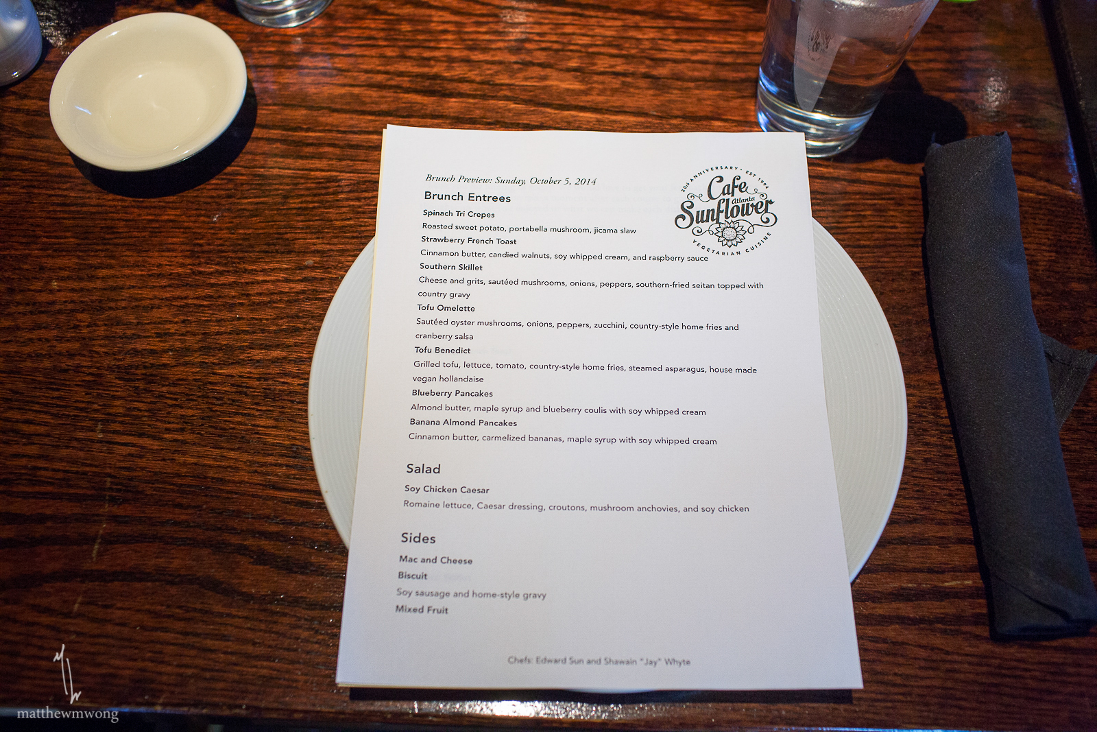 Cafe Sunflower invitation only sneak peek of their new brunch menu