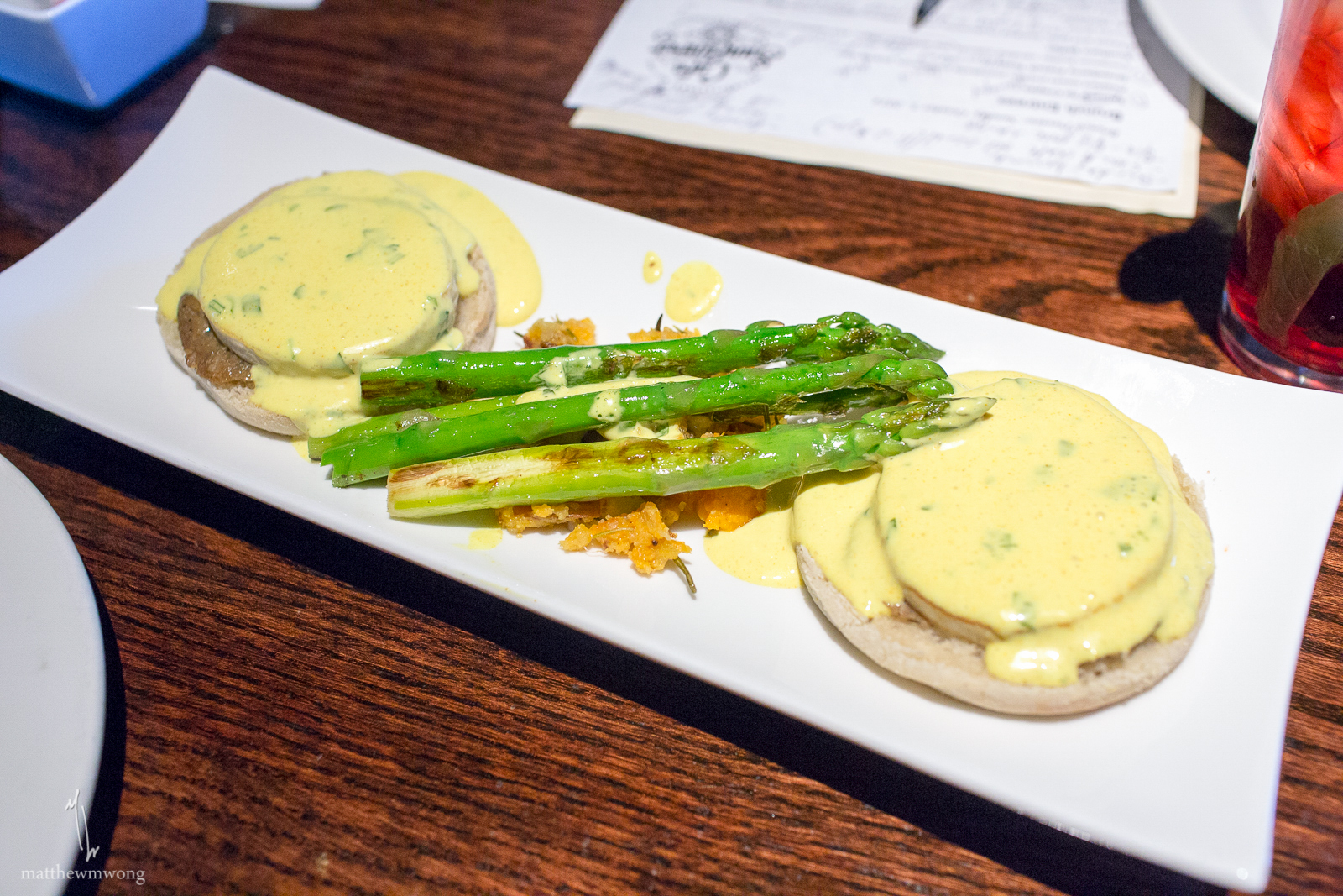 Tofu Benedict - Grilled tofu, lettuce, tomato, country-style home fries, steamed asparagus, house made vegan hollandaise