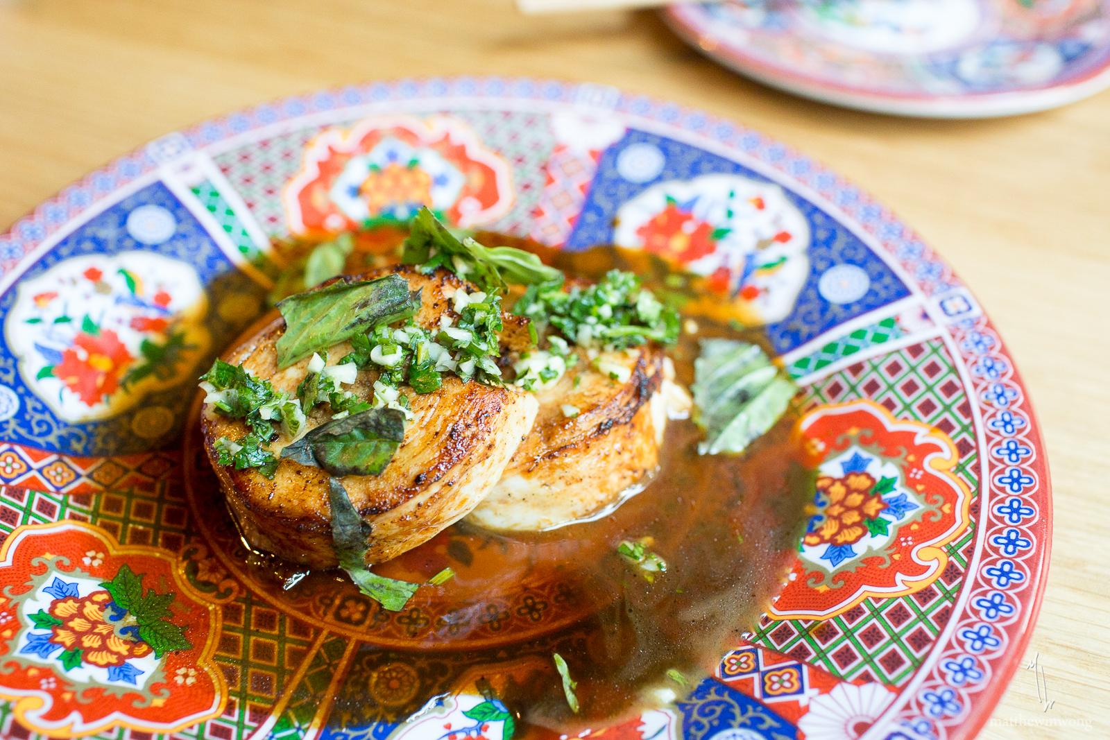 Chicken Roulade - thai basil, soy sauce, sesame oil