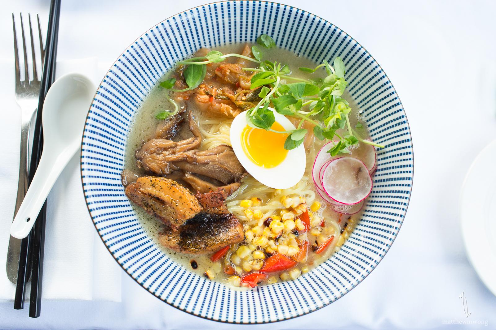 Tonkotsu Ramen- Pork belly, soft boiled egg, soy pickled mushrooms, roasted sweet peppers, grilled corn, shaved radish, kimchi