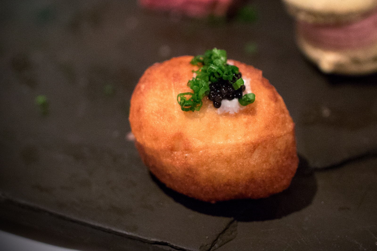 Potato Zeppole, Whipped Yogurt, UGA Caviar, Green Onions