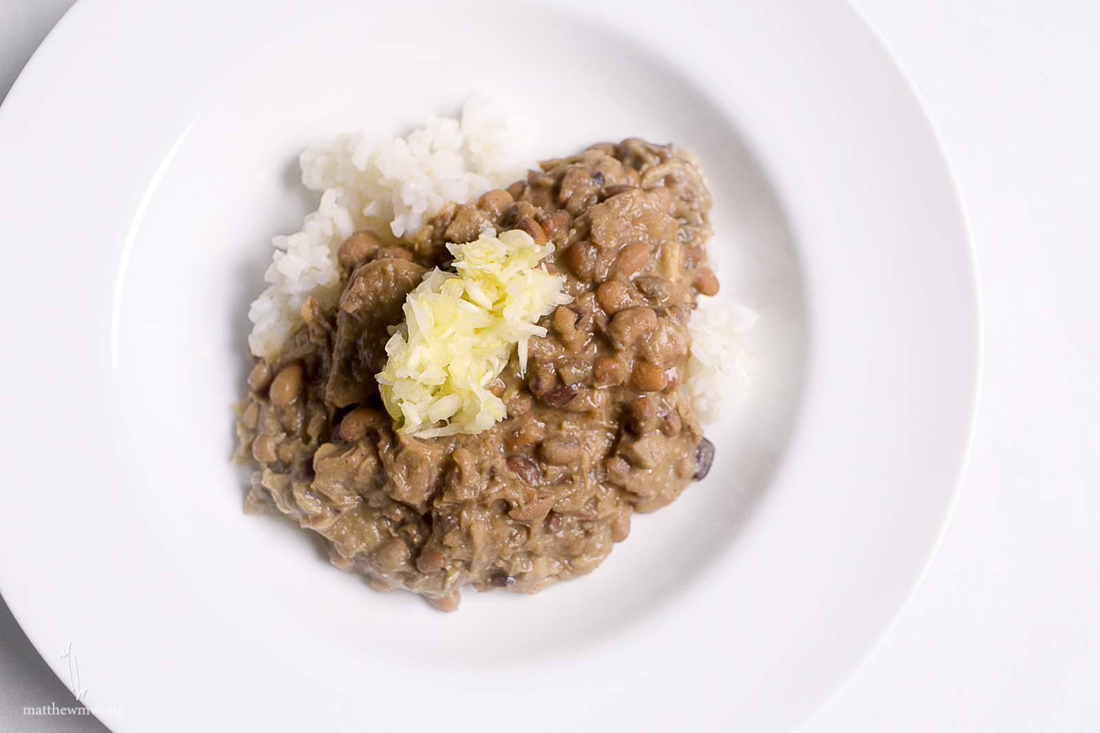 Hoppin' John, pig's head + Sea Island red pea stew, Anson Mills rice grits, house fermented cabbage