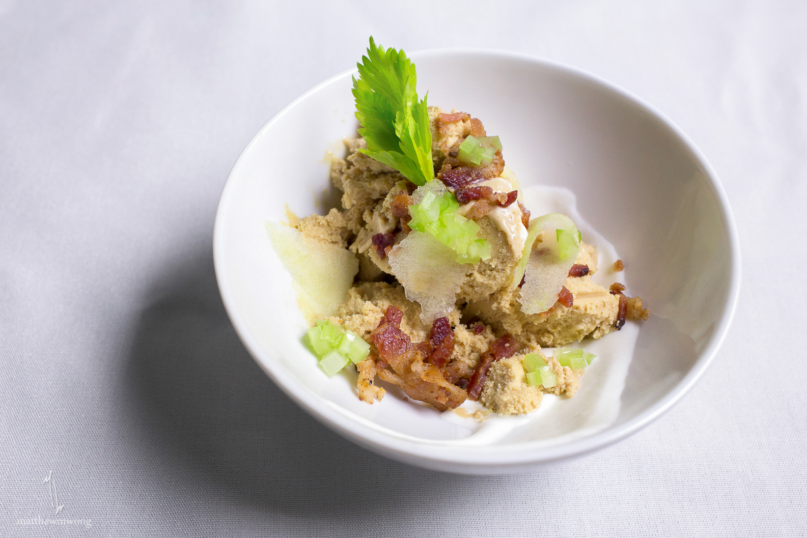 Springer Mountain Chicken Liver Ice Cream, bacon, celery, apple, blue cheese puree